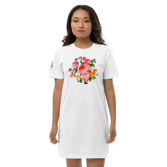 Comfortable inner garment ideal for confinement dress casual T-shirt in soft natural cotton with rose wreath print on front & back for women