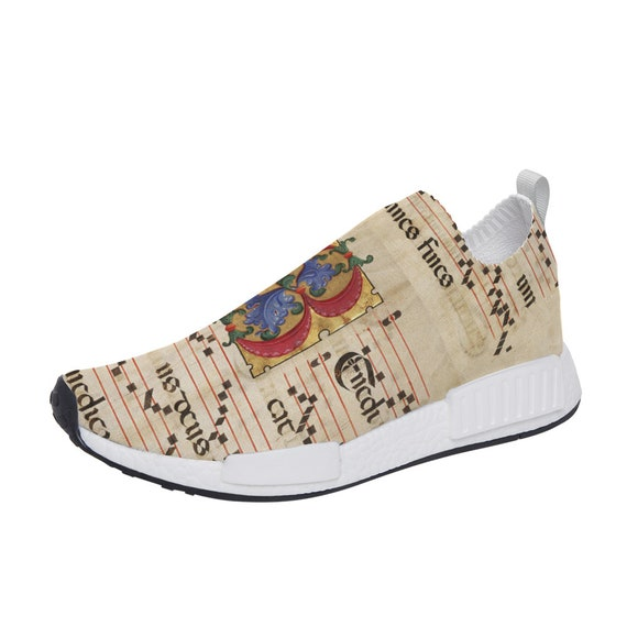 Mirror Effect Slip On Walking Shoes Lightweight Sneakers Breathable Running Shoes for Hiking print sheet music musical score monogram B