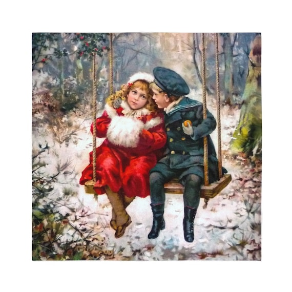 Bandana Super Soft Polyester square sublimation scarf PRINT 1900 Snowy Winter Girl Boy on a Swing Surrounded by Snowdrifts, Gift for Brides