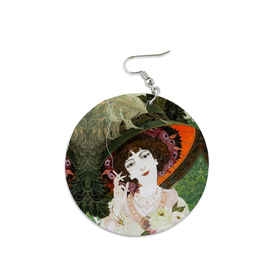 Light Wood Round Dangle Earrings Printed Romantic lady wearing a hat with an ostrich feather and a bouquet of roses