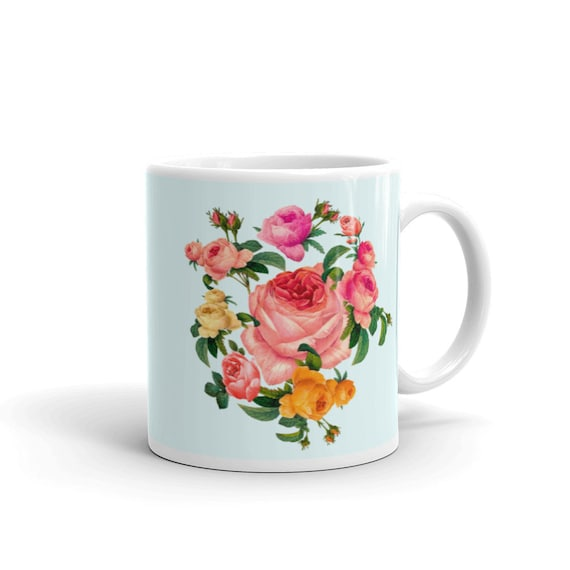 BLUE color Ceramic mug with a magnificent wreath of roses in the traditional English Shabby chic style. Best gift for rose lover, pink lover