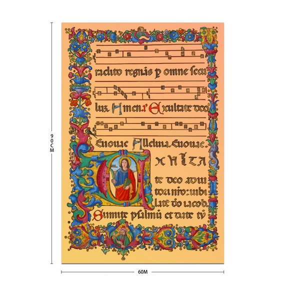 Art Silk Poster Bedroom Wall Decor Print medieval music score flower ornament angel and monogram A to decorate the music salon conservatory