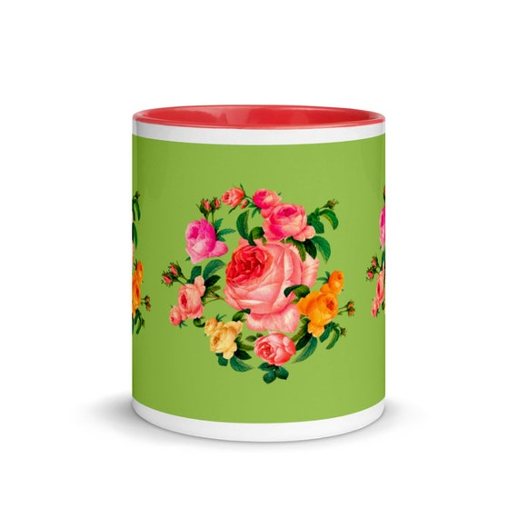 Ceramic mug in green and red color with beautiful wreath of roses in traditional English style. Best gift for rose lover