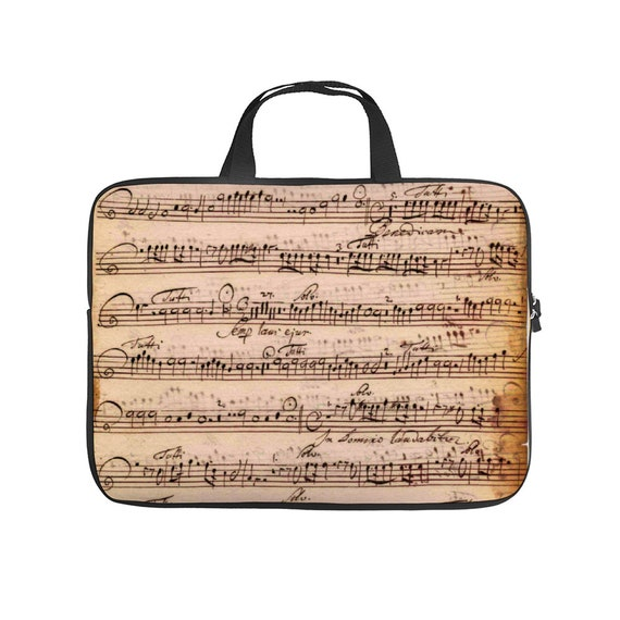 "Print musical notes score Laptop Bag 17"" for musician and music lover orchestra player, pianist, student of the conservatory"