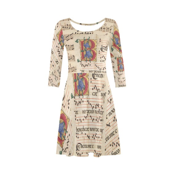3/4 Sleeve Sundress Printed with Monogram letter B and medieval music score for Meloman Musician