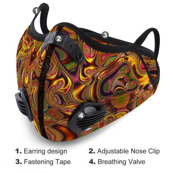 Breathable Face Mask Changeable Activated Carbon Filter Reusable Adjustable Nasal Thread Unique Artistic Print for Men and Women