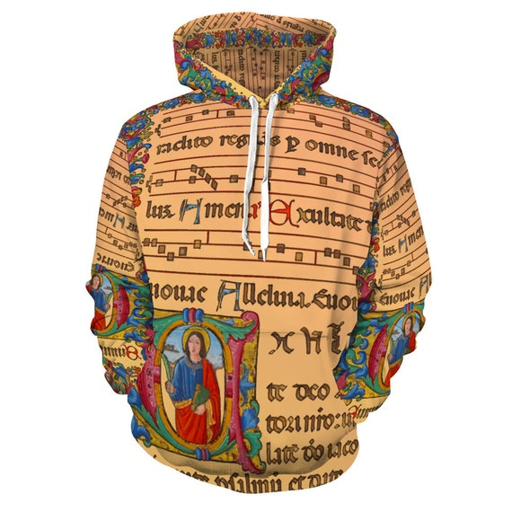 Hoodie Hooded All Over Print Sweatshirt with Pockets Print medieval musical score, flower pattern ornament, angel and monogram A