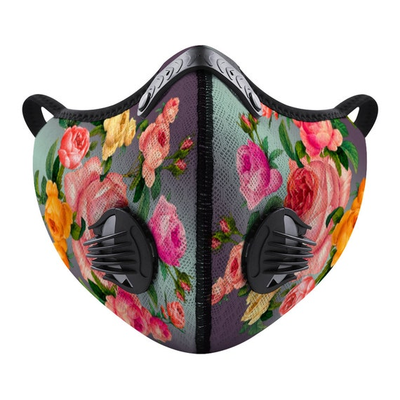 Breathable Face Mask Changeable Activated Carbon Filter Reusable Adjustable Nasal Thread Printed Artic Roses for Men and Women