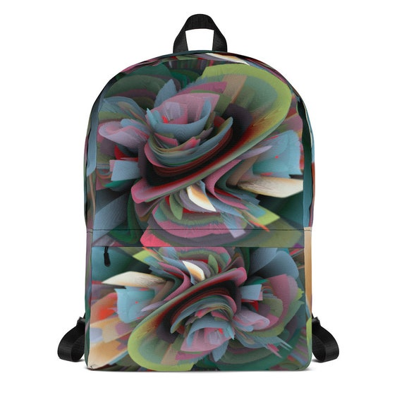 Durable Waterproof Medium Backpack with Laptop Pocket Silky lining piped inside hems soft mesh back Art Print for Man Woman Athlete Student