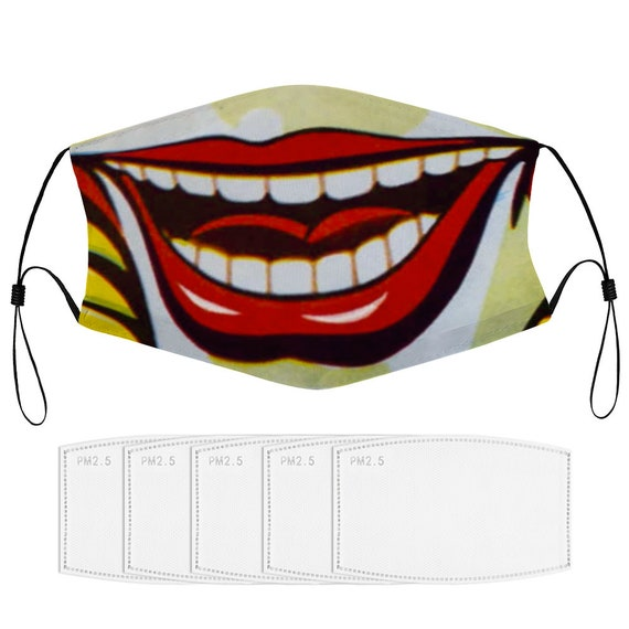 Funny Mouth Reusable Washable Dust Face Cover Nose Clip Adjustable Ear Loops Cover with Extra Filters art print laughing clown for women men