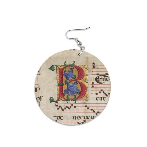 Light Wood Round Dangle Earrings Printed Monogram Letter B and Sheet Music for Women Girl Music Lover