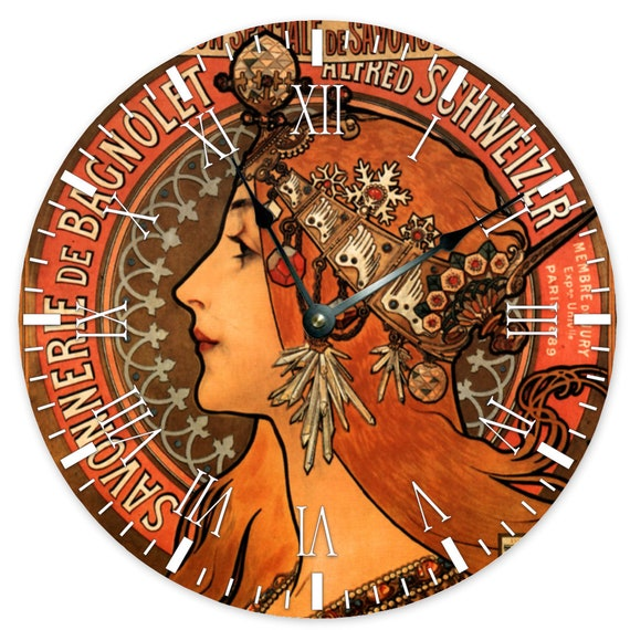 Wooden Clock no framing and no cover 15 Silent Round Wall Clock Bedroom Living Room Home Decor print Belle Époque Art nouveau Alfonce Mucha