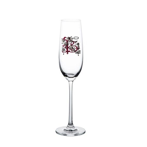 Best Gift Set Custom Monogrammed Flute Champagne Glasses Letter A UV Printing 8oz Flute Custom Monogrammed Champagne Glasses Letter B