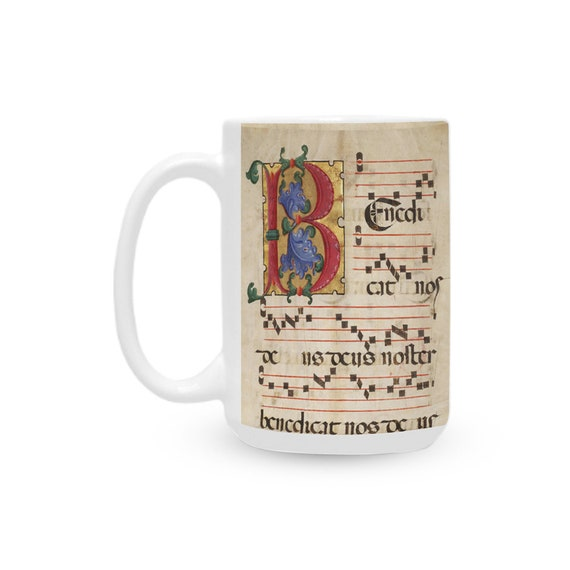 Made in USA Ceramic Coffee Mug 15 Oz Tea Cup Printed with Monogram letter B and medieval music score for Meloman Musician