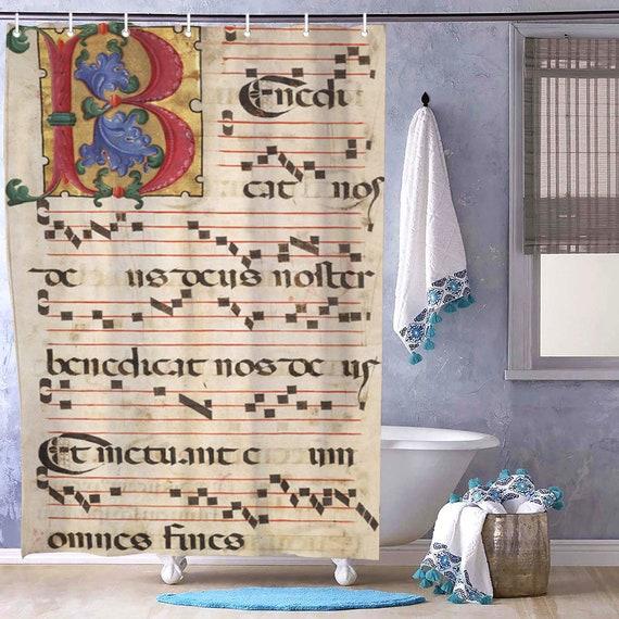 Bath Shower Curtain print Letter B Medieval Monogramm musical score, sheet music, music notes for music lover & musician