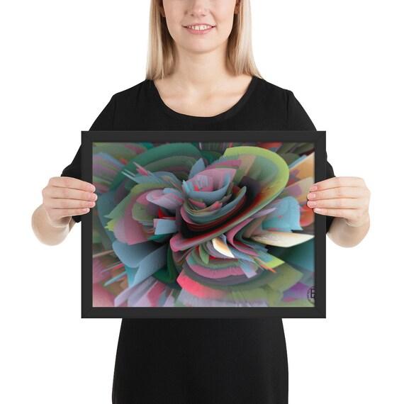 3D fantasy flower mixed media painting digital art. Framed printing on matte photo paper.Shades of green blue cream pink Artist Gantchikova.