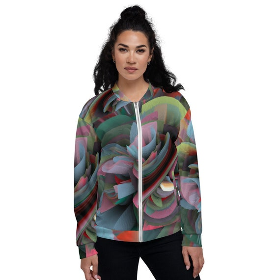 Unisex trendy bomber jacket trend of the season print in 3D by avant-garde contemporary artist limited collection custom made for women