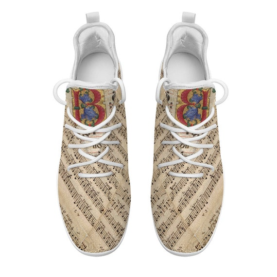 Comfortable and Breathable Sneakers Cheerleading Leisure Sports Shoes print medieval musical score with monogram B sheet music for adults
