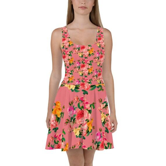 Pin- up dress, vintage dress pink color, pin-up robe, Pinup Girl Clothing, Pin-up model, Pink Roses, Flower pattern, Hand drawn Rose,