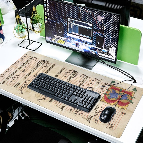 Square Mouse Pad, Mouse Mat Writing Desk Mat, Non-Slip Base for Computer, Laptop, Home print Letter B Medieval Monogramm musical score