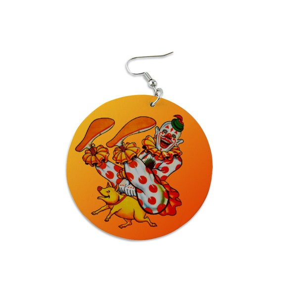 Wooden earrings hanging light round festive extravagant happy funny Laughing clown riding a pig for women girls clown lovers circus lovers