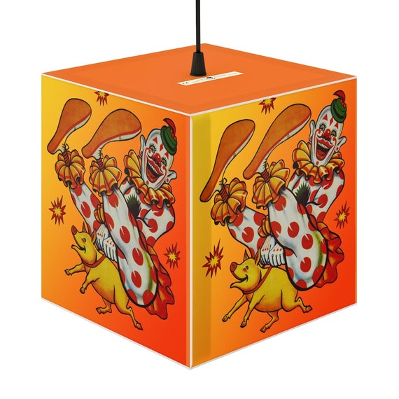 Cube shaped lampshade fun print of a laughing clown rides a piglet For children and creating a joyful fun festive festival carnival mood