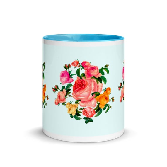Ceramic tea and coffee mug in BLUE outside and inside. Rose wreath print in traditional english shabby chic style. Gift for a rose lover