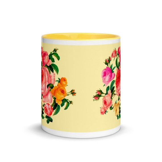 Ceramic tea and coffee cup, yellow outside and inside. Rose wreath print in traditional english shabby chic style. Gift for a rose lover mom