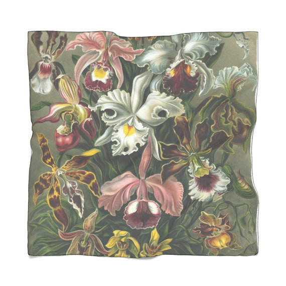 Transparent, light and airy scarf, painted with oil paints Luxurious orchids, perfect gift for mom, bride, women and men