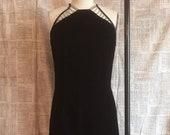 Vintage GUNNE SAX Brand Black Velvet Evening Gown - Halter Neck w Rhinestone Neckline Detail