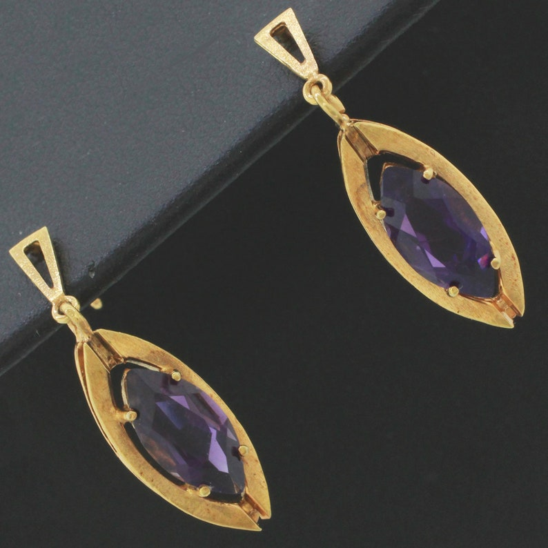 Vintage Estate 14k Solid Yellow Gold 3.5ctw~ Amethyst Marquise Dangle Earrings