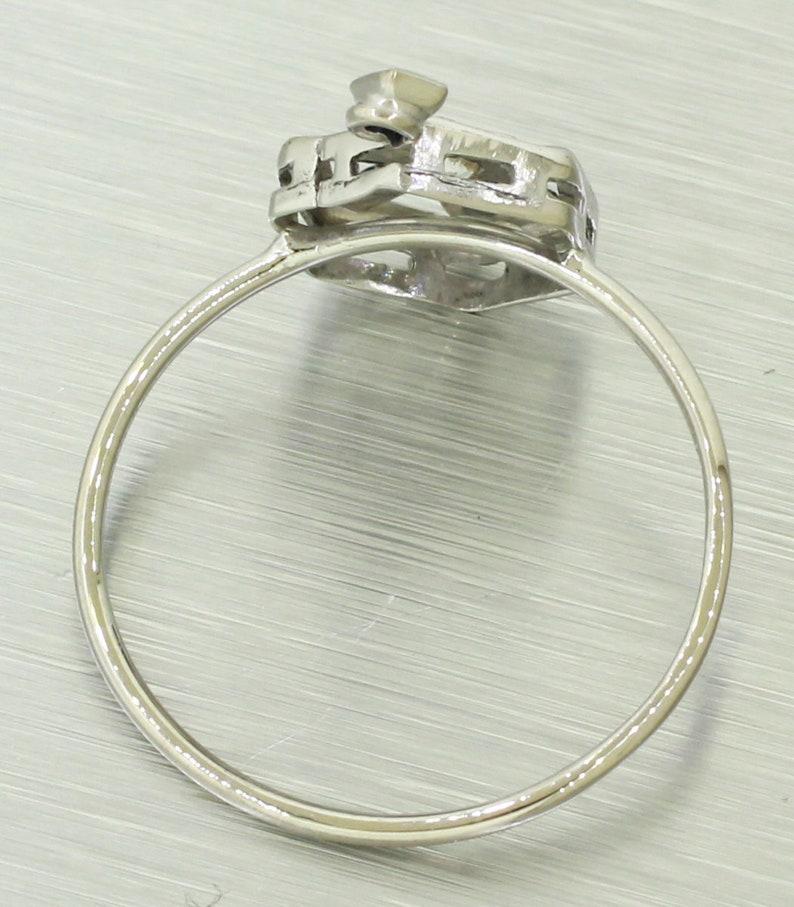 Antique Art Deco 14k White Gold 0.15ctw~ Diamond /& Sapphire Conversion Ring