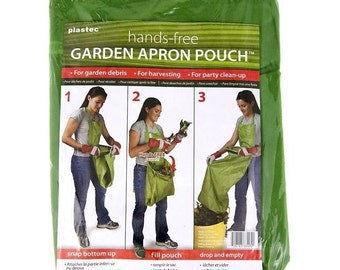 Plastec Hands-Free Garden Apron Pouch Lawn Harvesting Bag Party Clean Up Harvest