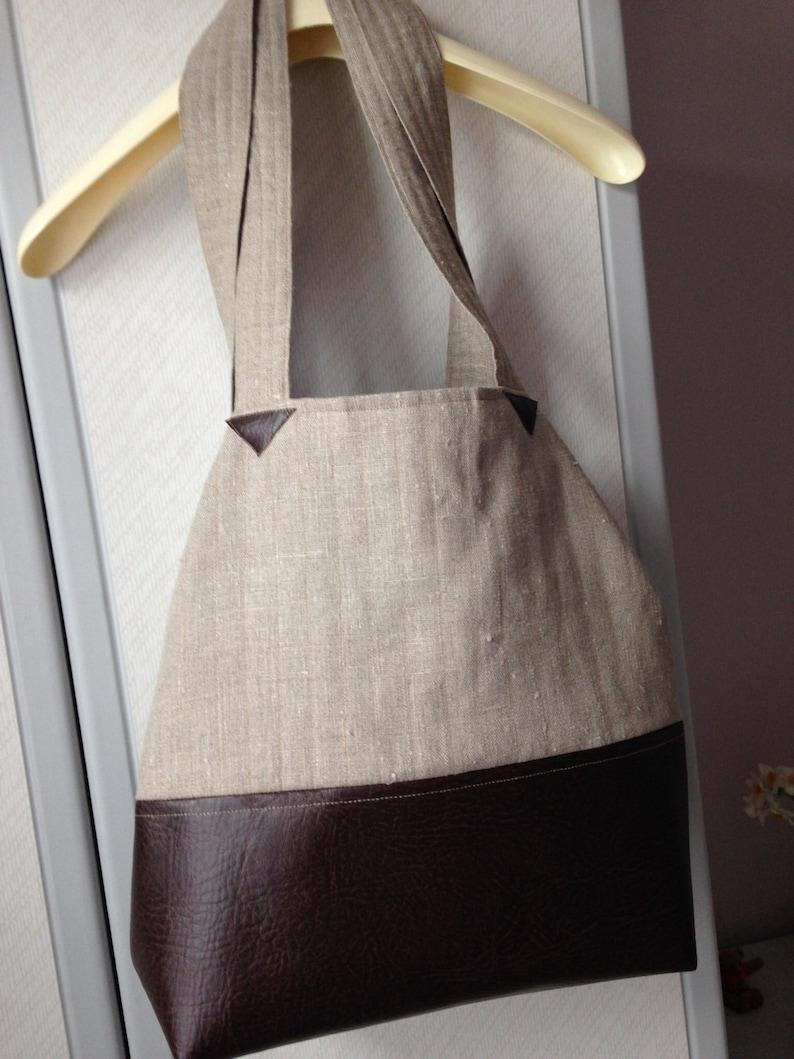 Shoulder Bag Handmade Shopping Bag Large FabricFaux Leather Bag Two-Way Shopping Bag Tote