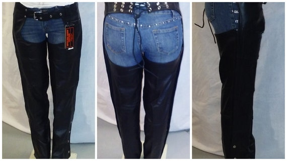 7153 Ladies Stud /& Concho Leather Motorcycle Chaps