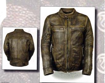1550 Men's Distressed Vintage Brown Leather Jacket - Vented - Zip out Liner