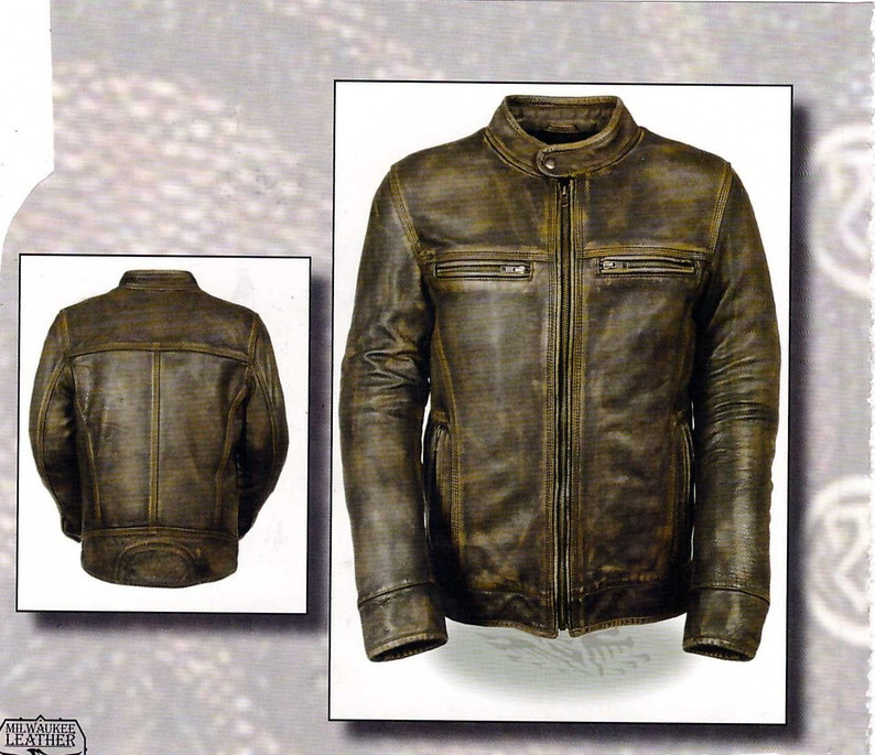 55d00f415 1550 Men's Distressed Vintage Brown Leather Jacket - Vented - Zip out Liner