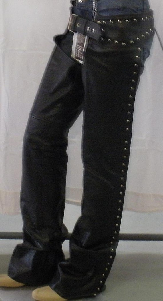 7155 Ladies Studded Leather Motorcycle Chaps