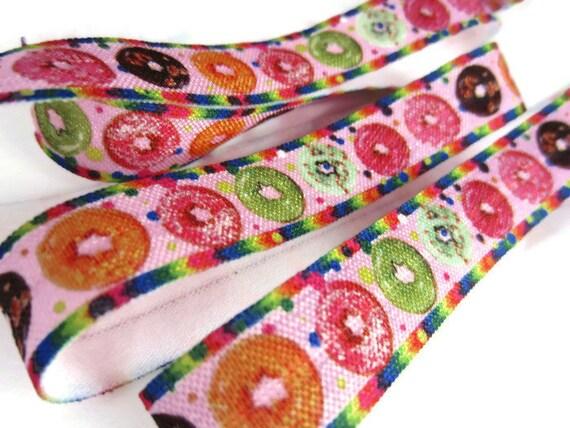 Donut Fold Over Elastic Sweets Foe Pink Fabric Diy Hair Ties And Headbands 5 8 Wide Elastic Fabric