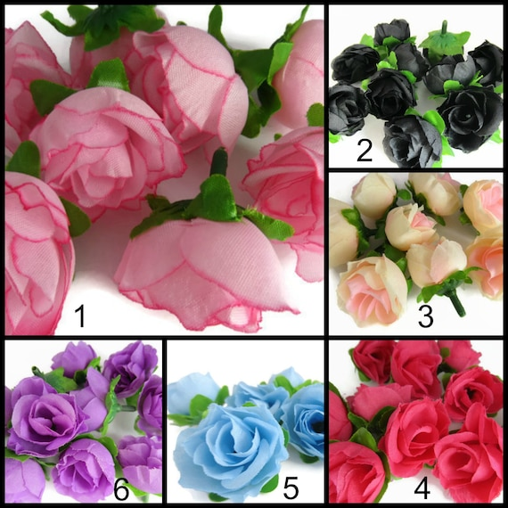 Mini silk roses rose heads small roses black pink purple etsy image 0 mightylinksfo