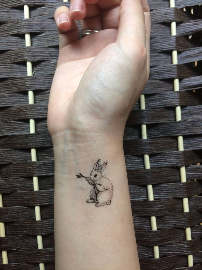 b32b4ee2d70db Little bunny temporary tattoo stickers | Etsy