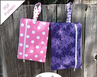 Diaper Clutch With Waterproof Wet Bag, Wrist Strap and Dry Pocket for Diapers & Wipes Sewing Pattern - 2 Sizes (PDF Digital Download)
