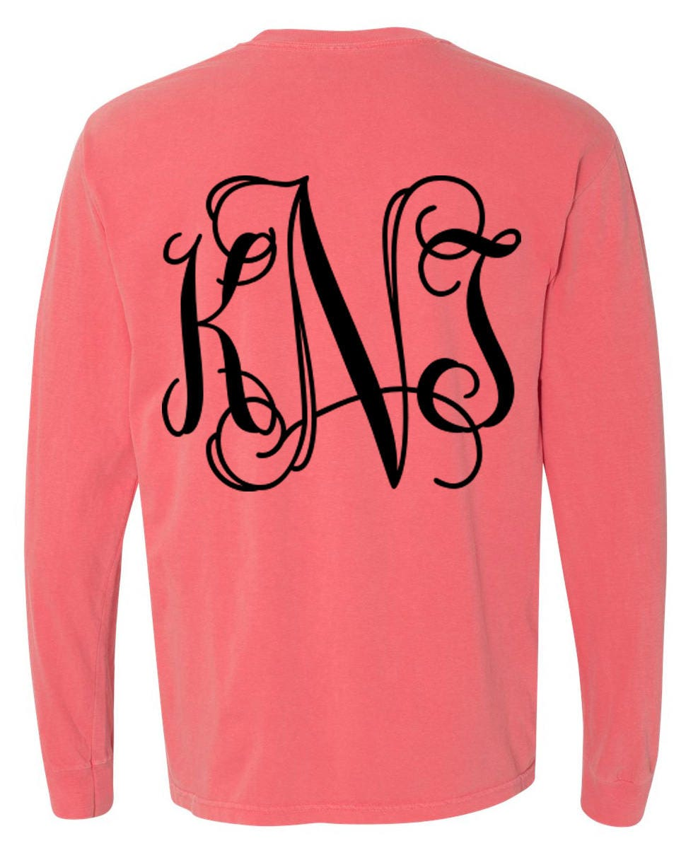Comfort Colors Monogrammed Long Sleeve T-shirt
