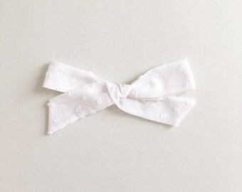 White Swiss Dot - Hand Tied Bow