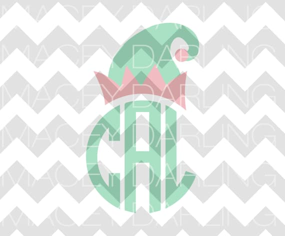 26+ Elf Hat Monogram, Christmas, Svg, Dxf, Cricut, Silhouette, Cut File SVG