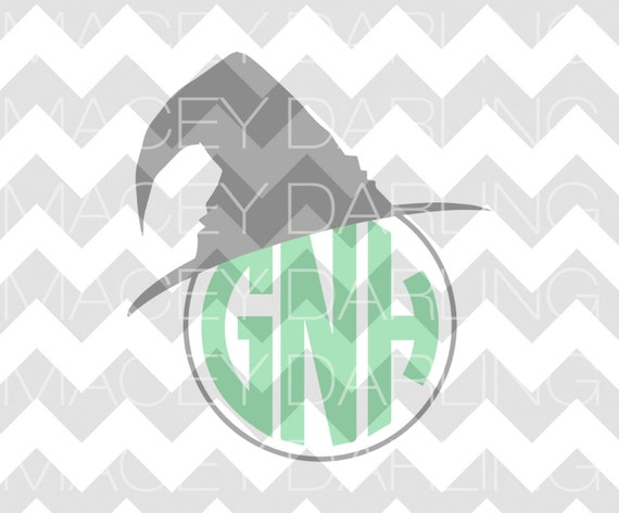 Download Witch Hat Monogram Frame Cut File DXF