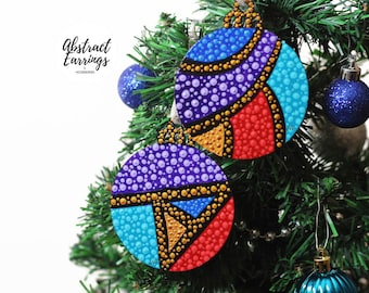 Mardi Gras Ornament 2 Set, Flat Wooden Handmade Ornaments, Decoration for Holiday Christmas Tree Winter Solstice or Kwanzaa Boxed Gift
