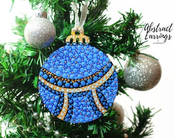Ultramarine Blue Tree Ornament - Hand Painted Dot Art Ornament - Flat Wooden Circle Bulb - One of a Kind Boxed Christmas Gifts - Home Decor