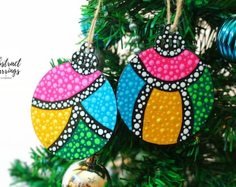 Colorful Dot Statement Ornament 2 Set For Holiday Decoration Christmas Tree or Boxed Christmas Gift - Hand Painted - Rare Find One of a Kind