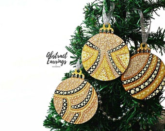 Tan Gold Black Abstract Ornament 3 Set Wooden Hand Painted Afrocentric Decoration for Holiday Christmas Tree or Unique Kwanzaa Boxed Gift